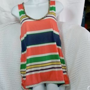 Miss Me Multi Colored Striped Tank Top